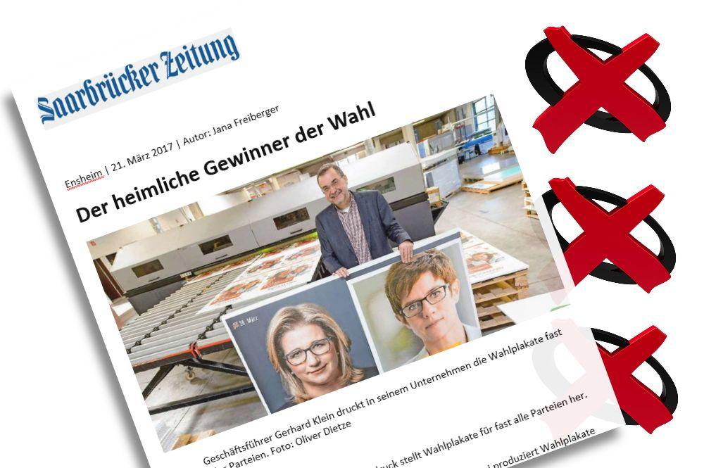 Saarbrücker Zeitung: Bericht über Braun-Klein Siebdruck vom 21. März 2017